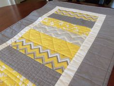 Yellow and Gray Quilted Table Runner by homesewnbychristine
