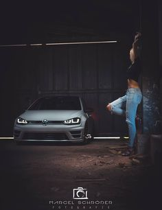 Low band of light across girl car ties them together visually creating two abstract shapes interiores de fusca para vc ter uma ideia de personalizao Vw Scirocco, Vw Passat, Lamborghini Cars, Bmw Cars, Audi, Car Girls, Girls Golf, Girl Car, Golf 7 Gti