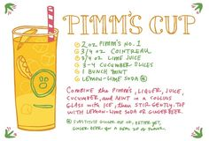 Pimm's Cup Recipe Card Illustration by Caitlin Keegan for Oh So Beautiful Paper Cocktails, Party Drinks, Cocktail Drinks, Fun Drinks, Cocktail Recipes, Drink Recipes, Pimms O Clock, Friday Happy Hour, Ginger Beer