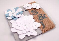 Burlap and Lace Doily Monogram Wedding Invitation Handmade Flower Rhinestones Folded Shabby Chic.