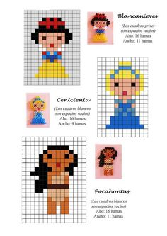 Disney Princess (Snow White, Cinderella, Pocahontas) hama beads pattern by sharene Hama Beads Disney, Hama Disney, Perler Bead Designs, Hama Beads Design, Perler Bead Art, Perler Beads, Fuse Beads, Pearler Bead Patterns, Bead Loom Patterns