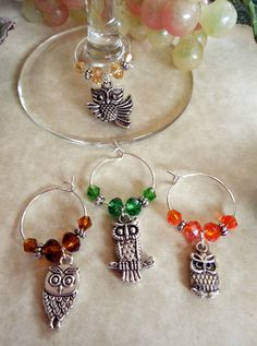 Owl wine glass charms can be made in sets of 4 - 6 - 8 or 12! eBay message me @ Oh Sew Cute Aprons more. I've lots of charm sets to choose from or can make special orders with your favorite things.#Handcrafted #ohsewcute