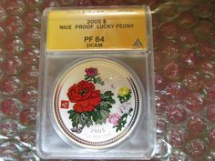 NIUE 2005 Lucky Peony Flower Series .999 Silver Coin Bullion ANACS NGC PCGS pf64