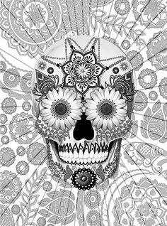 Day of the Dead, dia de los muertos, Sugar Skull, Coloring pages colouring adult detailed advanced printable Kleuren voor volwassenen coloriage pour adulte anti-stress kleurplaat voor volwassenen Line Art Black and White Skull Coloring Pages, Free Coloring Pages, Printable Coloring Pages, Coloring Books, Mandala Halloween, Doodle Art, Sugar Skull Artwork, Sugar Skull Tattoos, Sugar Skulls