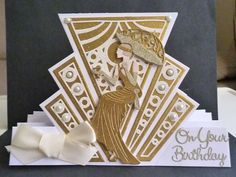 Card made using the TL stepper card die set and art deco lady