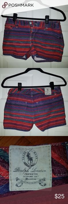 Ralph Lauren Proprietor Denim Shorts This multi colored shorts is an authentic piece of clothing from Ralph Lauren Proprietor Denim. Size of these shorts is a girls 14. Ralph Lauren Bottoms Shorts