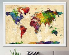 World map wall art world map poster large map watercolor posters world map wall art world map poster large map watercolor posters pinterest watercolor watercolor art and paintings gumiabroncs Images