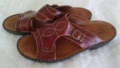 Joseph Seibel Brown Leather Slides Sandals Mules Buckle 41 Size 10 #JosefSeibel #Mules #Casual