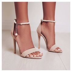 Evelina Pearl Ankle Strap Heel In Nude Faux Suede. Gimme those pearls. Style: EVELINA  Price: £18.75 / $25. Sign up to newsletter for 15% off discount.  #egosquad #egoofficial #shoes #shoesoftheday #fashion #fashiontips #onlineshoes #shoelover #showmyshoes #strapsandals #highheels