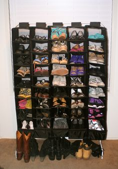 Too many shoes? Great use of an old clothes rack and some Ikea shoe Skubbs for cheap DIY shoe storage.