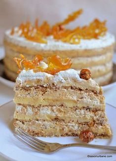felie de tort egiptean Pastry Recipes, Sweets Recipes, Just Desserts, Peach Yogurt Cake, Cake Receipe, Romanian Desserts, Delicious Deserts, Sweet Bakery, Different Cakes