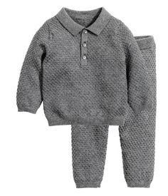 Strikket trøje og bukser   Mørkegråmeleret   Børn   H&M DK