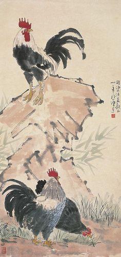 徐悲鸿 三吉图 | par China Online Museum - Chinese Art Galleries