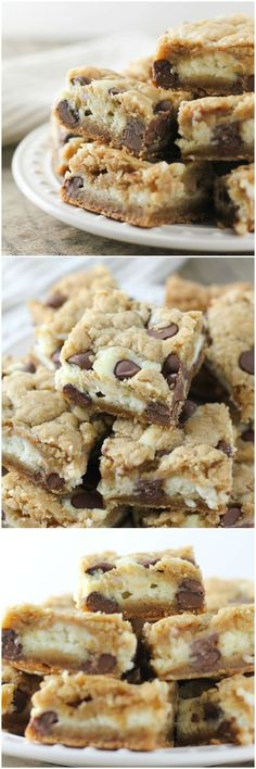 A creamy cheesecake layer between the perfect cookie dough, filled with milk chocolate chips, so yummy. These are the best chocolate chip cookie cheesecake bars you can make!