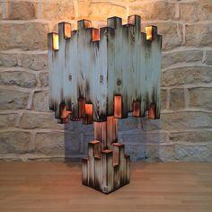 Handmade Wooden Table Lamp Floor Desk Light by Uniquelightingco Unusual Table Lamps, Rustic Table Lamps, Table Lamp Wood, Wood Lamps, Wooden Tables, Desk Lamp, Wooden Desk, Bedside Lamp, Table Desk