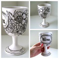 Wino Wine Glass Painted Ceramic Goblet Black Ivory by sewZinski