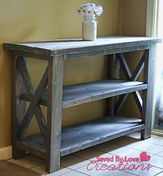 Rustic Console Table #woodworking #DIY plan from Ana White, built by @savedbyloves