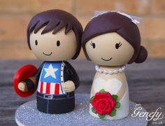 Cute CAPTAIN AMERICA and Bride superhero by GenefyPlayground, £98.00