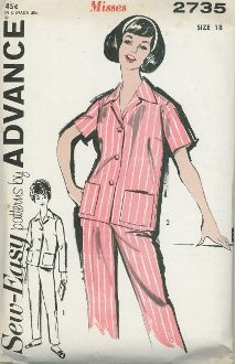 An unused, original ca. 1960's Advance pattern 2735.  Pajamas with either long or short sleeves.