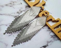 White wedding earrings, tassel beaded earrings, white and silver earrings, delicate beaded earrings, wedding jewelry, silver beaded earrings
