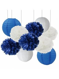 White Navy Blue 10inch Tissue Paper Pom Pom Paper Lanterns Mixed Package for Navy Blue Themed Party Wedding Paper Garland, Bridal Shower Decor Baby Shower Decoration