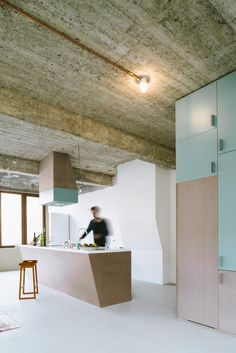 Carton123 architecten . reconversion of warehouse, Anderlecht // turquoise industrial kitchen design