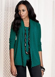 Pair a draped cardigan in a pop of color with dress pants and a great necklace for smart casual Friday. Lafayette 148, size 2X, $281
