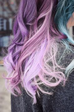 purple and teal hair