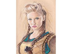 Katheryn Winnick as Lagertha from History Channel's Vikings. Colored Pencil on Strathmore Toned Tan paper. Art by Barb Sotiropoulos
