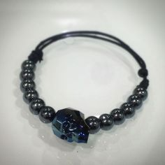 bracelet  swarovski dark blue skull hematite