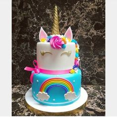 Awesome Birthday Party Ideas for Girls – Unicorn Cake Unicorn Themed Birthday, Rainbow Birthday, Rainbow Unicorn Party, 5th Birthday, Birthday Ideas, Unicorne Cake, Cupcake Cakes, Cupcakes, Bolo Laura