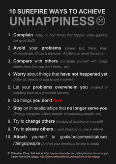 10 Surefire Ways To Achieve Unhappiness [Manifesto] - Read the full article by Celestine Chua: 10 Surefire Ways To Be Unhappy in Life - Printable in Black or White version. by PHguy Great Quotes, Quotes To Live By, Inspirational Quotes, Awesome Quotes, Motivational Board, Clever Quotes, Uplifting Quotes, Found Out, Self Help