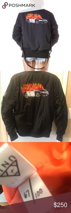 UNIF black ACAB bomber jacket sold out medium This unisex bomber jacket is and always will be 🔥🔥🔥 (lol ok I get it I'm not funny). This is a limited edition run and this jacket is numbered #67/100. I've only worn this ish twice and don't find myself reaching for it, so the poor baby needs a new home. The inside is orange and there are 2 ~secret~ pockets. There's also a pocket on the sleeve and two regular pockets on the sides. It's unisex sizing! PS it doesn't come with the sling…