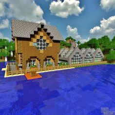 Minecraft house by the water Minecraft City, Minecraft Buildings, Minecraft Stuff, Minecraft Water House, Minecraft Bridges, Minecraft Construction, Minecraft Crafts, Minecraft Creations, Minecraft Designs