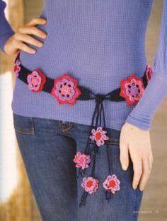 cinturon de flores a crochet