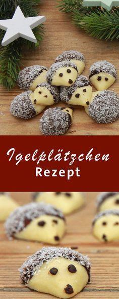 Süße Igelplätzchen für die Weihnachtsbäckerei.