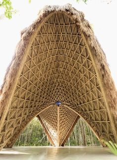 Designed by CO-LAB Design Office , Luum Temple is part of the amenities of a new residential development called Luum Zama, in Tulum Mexico. Parametric Architecture, Bamboo Architecture, Temple Architecture, Organic Architecture, Architecture Design, Architecture Today, Bamboo Building, Bamboo Structure, Bamboo Construction