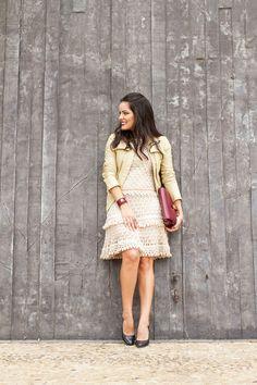 Crochet and leather! Vanessa Montoro, Rubrics, New Look, Ideias Fashion, High Neck Dress, Boho, Knitting, Lady, Casual