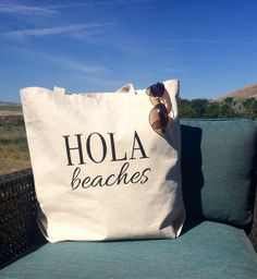 HOLA BEACHES™-Statement Tote Bag-Beach Bag-Vacation Bag-Bachelorette Party Gift by SwellStated on Etsy https://www.etsy.com/listing/237412644/hola-beaches-statement-tote-bag-beach