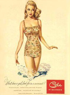 1949 swimsuit advertising, Cole of California vintage bathing suit ad. Badeanzugwerbung Vintage Badeanzuganzeige Cole of California. Vintage Bathing Suits, Vintage Swimsuits, Vintage Girls, Vintage Outfits, Vintage Fashion, Vintage Advertisements, Vintage Ads, Vintage Designs, Vintage Stuff