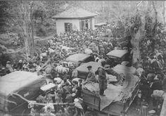 Exiliados republicanos en la frontera con Francia, el 28 de enero de 1939