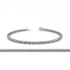 Pink Tourmaline and Diamond (SI2-I1, G-H) 3-Prong Tennis Bracelet 3.80 ct tw in 14K White Gold. 23 Round Diamond & 23 Round Pink Tourmaline set using 3-Prong Setting. SI2-I1-Clarity, G-H-Color Diamond & SI1-SI2-Clarity, Pink-Color Pink Tourmaline. Gemstones may have been Treated to Improve their Appearance or Durability & may Require Special Care. The Natural Properties & Composition of Mined Gemstones define the Unique Beauty of each Piece. The Image may show Slight Differences to the...