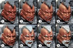 Drowned in Plastic: Space Wolf step-by-step part Faces, Fur & Bones Face Painting Tutorials, Painting Tips, Figure Painting, Painting Techniques, Warhammer Paint, Warhammer Fantasy, Warhammer 40000, Wolf, Space Wolves