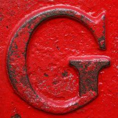 Red letter G Alphabet Art, Alphabet Soup, Alphabet And Numbers, Alphabet Photography, Letter Form, Metal Letters, Typography Letters, Shades Of Red, My Favorite Color
