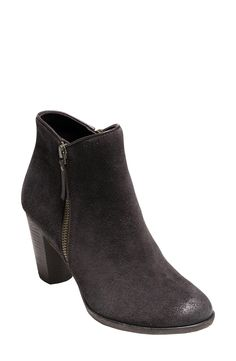 Free shipping and returns on Cole Haan 'Hayes' Bootie (Women) at Nordstrom.com. A subtly curved topline creates a flattering fit in an essential, burnished suede bootie that upholds Cole Haan's reputation for providing comfort without compromise. An easy side zip and a walkable stacked heel make it a snap to wear.
