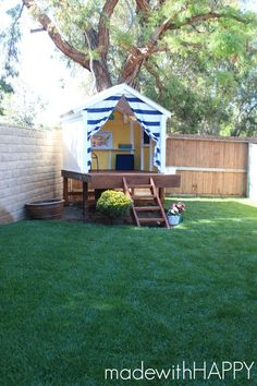 DIY Outdoor Projects Looking for fun ways to spruce up your outdoor space? Check out these amazing DIY Outdoor Projects.Looking for fun ways to spruce up your outdoor space? Check out these amazing DIY Outdoor Projects. Backyard Playhouse, Build A Playhouse, Backyard Playground, Backyard For Kids, Playground Kids, Backyard House, Modern Backyard, Large Backyard, Backyard Fort