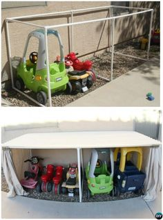DIY PVC Pipe Car Parking Garage -20 PVC Pipe DIY Projects For Kids - A variation of this but with wood for storm stability....