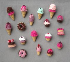 Amigurumi sweets - Crochet brooches - Ice Cream, Cupcake, Donnut, Cake - Choose one - Made to order. via Etsy.