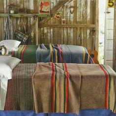 Pendelton Blankets, Pendleton Wool Blanket, Vintage Cabin, Camping Blanket, Camping Car, Camping Store, Camping Cabins, Cozy Cabin, Cabin Beds
