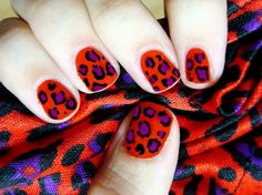 Nails & Nail Art ♥ / Red leopard inspired in favorite fabric  polishedlove.blogspot.com